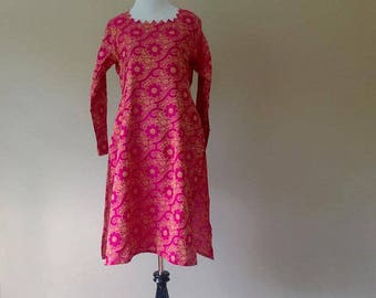 Small In-Sattva Hot Pink Indian Women's Tunic Top Size S