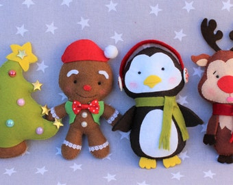 Christmas decoration: Pack of Christmas, Christmas ornament, gift Christmas, snowman felt Christmas tree, ornament tree, Christmas gift