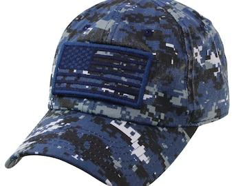 American Flag Detachable Military Baseball Cap-7MIL001-NAVY