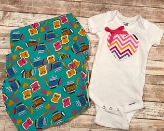 Baby Girl Onesie/Burp Cloth Set~~Minky~Snuggle Flannel~Rainbow Chevron Heart~Peanut Butter Jelly Time!