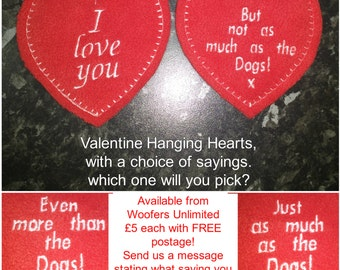 Valentine Love Heart with comical sayings on the reverse - DOG, COFFEE, CHOCOLATE plus others