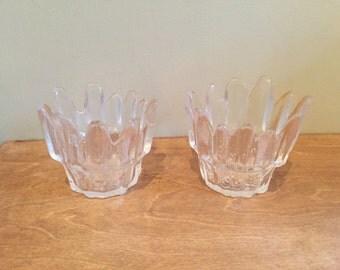 Two Swedish Icicle Design Glass Tea Light Holders - Vintage Swedish