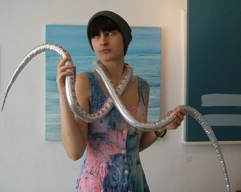 Tentacle scarf in shiny silver lycra, Octopus disco tentacles