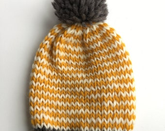 Striped Beanie / Yellow and White
