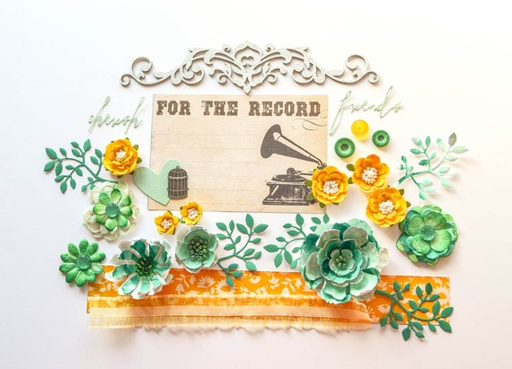 Yellow and green scrapbooking layout kit with handmade flowers with bead centers and Blue Fern Studios chipboarrd