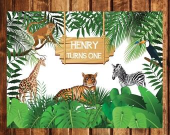 Printable Safari Animals Jungle Birthday Backdrop Poster Digital File | JU_01