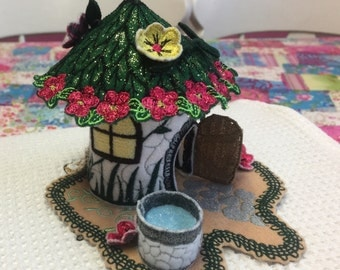 Fairy House embroidered ( Green and White )