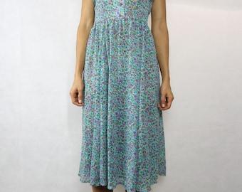 VINTAGE Floral Chiffon 80s Dress Size S-M