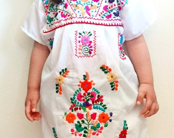 Summer Girls Dress Mexican Floral Embroidered Size 12-24 M