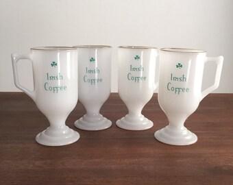 Milk Glass Irish Coffee Mug Set
