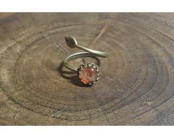 Sunstone and Antiqued Brass Vine Ring | ADJUSTABLE