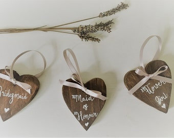 Bridal party gift - Bridesmaid gift - Wooden Heart - Thank You gift - Personalised Heart - Wedding Favour - Maid of Honor - Mother of Bride