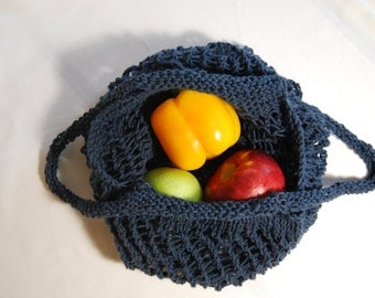 Knit Indigo Market Bag, Reusable Bag, Market Bag, Knit Market Bag, Eco Friendly, Tote, Tote Bag, Bag, Mesh Bag, Grocery Bag,