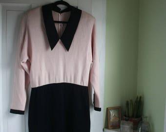 Size 14/16 Plus Size Vintage Dress Pink & Black Stretch Knit 1980s