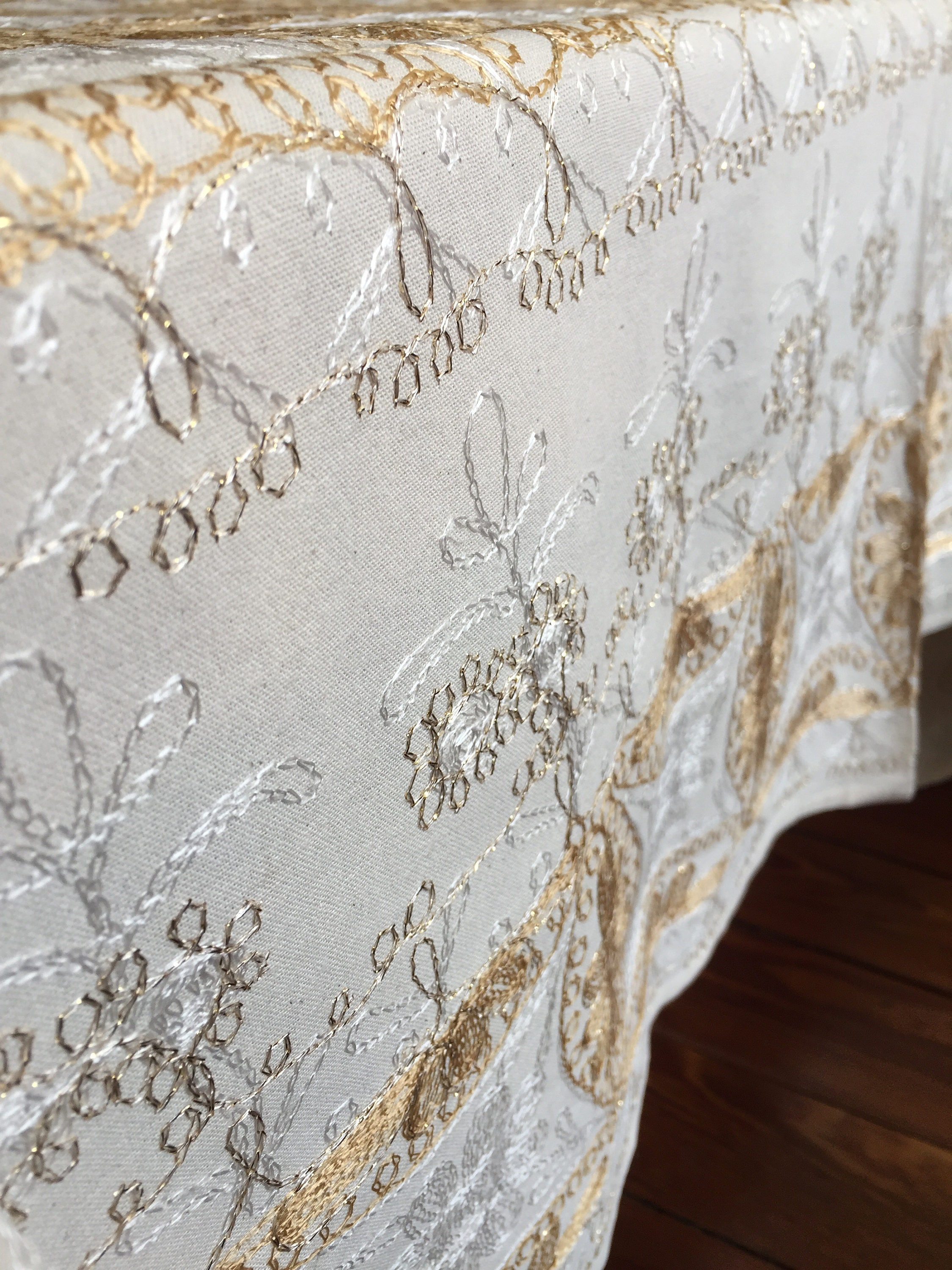 ... Beige And Gold Tablecloth. 1