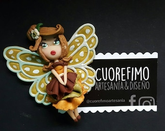 Cuorefimo / brooch fairy polymerclay / brooch fairy of them leaves clay polymer / chibi / geek / fimoclay / fimo / handmade / miniature