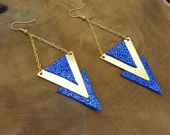 Earrings Royal blue leather