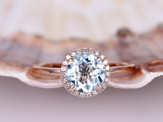 Rose Gold Aquamarine ring,7mm Aquamarine Engagement Ring,diamond wedding band,Blue gemstone,promise ring,stacking plan gold matching ring