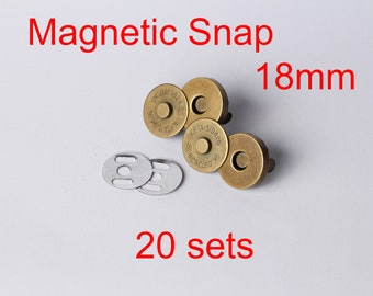 Magnetic Snap 20 sets 18 mm 3/4 inch Brass Snap