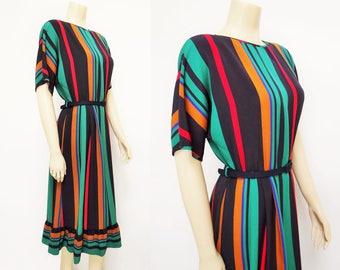 Free Shipping* Vintage Dress, UK12, Ladies Clothing, Vintage Clothing, Party Dress, Prom Dress, Striped Dress, Striped Dress, Boho, Vintage