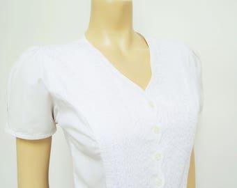 Free Global Shipping* 90s Cotton Boho Blouse, Gypsy, 1990s, UK8, Girly, Short Sleeved Shirt, White Shirt, White Blouse, Vintage Clothing