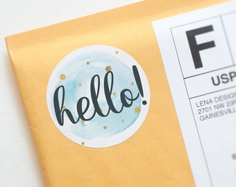 Hello Stickers - Packaging Stickers - Printed Stickers - Happy Mail Stickers - Product Packaging - Pretty Packaging - Mail Stickers