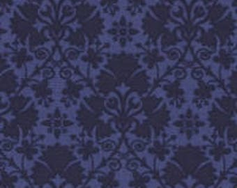 By the HALF YARD - Everything Blue 2 by Marsha McCloskey for Clothworks, Pattern #Y1543-30, Tonal Blue Floral Damask with Geometric Patterns