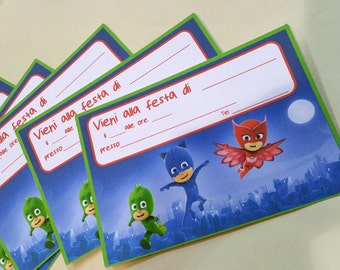 Invitations for party 10 pieces inspired by Superpigiamini Pjmasks printed on cardstock 210 gr to be filled with data about your party