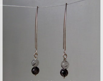 Earrings long silver and black rutile quartz / handcrafted