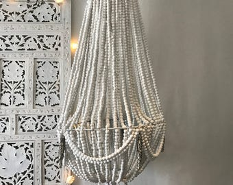 Hanging beaded macrame chandelier swags