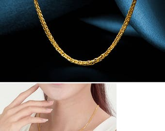Solid 18K Yellow Gold Chain Wheat Style Necklace