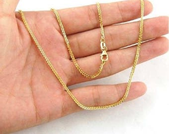 Adjustable 45-50cm Solid 18K Yellow Gold Wheat Au750 Chain Necklace 161161