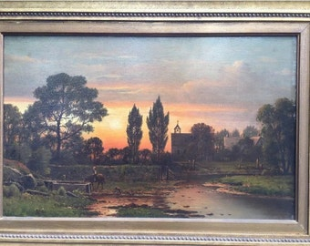 Charles W. Knapp (1823-1900) Oil on Canvas Painting - Hudson River School