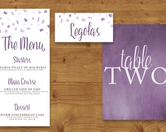 Lavender Watercolour Petals Place Cards, Table Numbers, Menu Cards - Wedding - Purple Wedding - Table Name - Name Card - Wedding Stationery