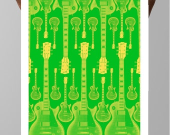 Gibson Les Paul Style Guitar Halftone pattern Poster Art