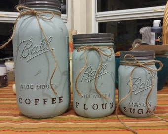 Chalk Painted, Shabby Chic, Canister Set, Kitchen Canisters, Farmhouse Set