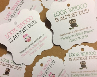 Baby shower favor tags, favor tags, owl party, thank you tags, owl theme