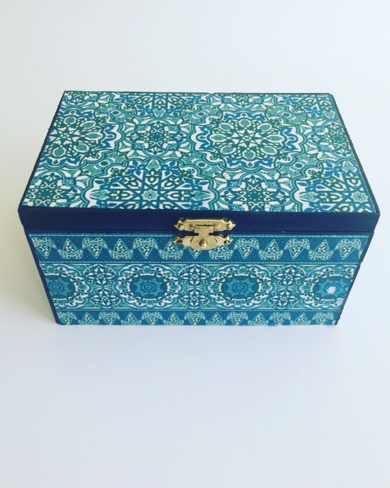 Handcrafted blue jewellery box,wooden box,girls jewellery box, keepsake box, jewellery storage,