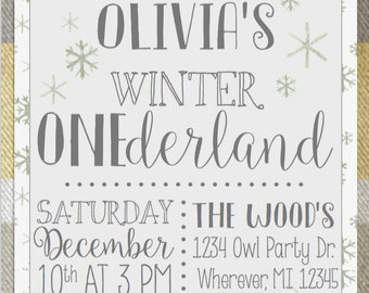 Owl Yellow and Grey Winter Onederland First Birthday Party Invitation