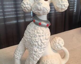 Vintage White Poodle Statue