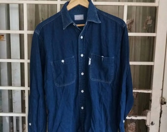 Vintage blue blue shirt button down denim/large/branded/japan style/workwear/made in japan