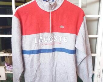Vintage Lacoste sweatshirt spellout/size 40/grey/sportwear/streetwear/hip hop