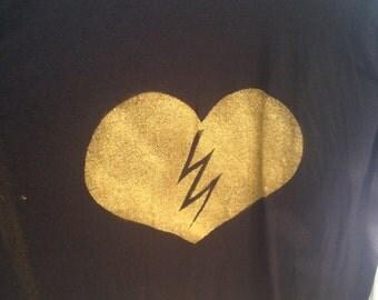 Heart of Gold Lightning Bolt Tee