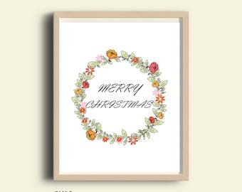 Printable Christmas decor, Merry Christmas wall art, holiday prints, Christmas printables, christmas prints, holiday decorations printable