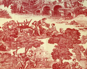 WAVERLY Toile Fabric Screen Print La Belle Campagne, Rare Red & Yellow 1 Yd Plus