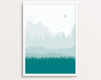 Mountain art, abstract print, nature poster, forest wall art, mountains prints, landscape printable, minimalist wall decor, kitchen print