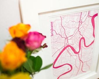 BRISBANE City map, travel print, wall art, pink {I left my heart} in Brisbane Australia
