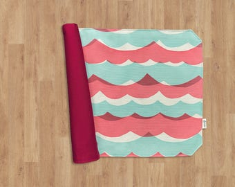 Reversible Placemat of 100% Cotton - red & blue