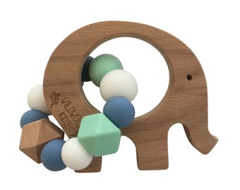 Elephant Teething ring with blue mix