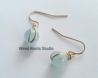 Aquamarine drop earrings, aquamarine double wrap drop earrings, birthstone earrings, aquamarine silver earrings, aquamarine gold earrings